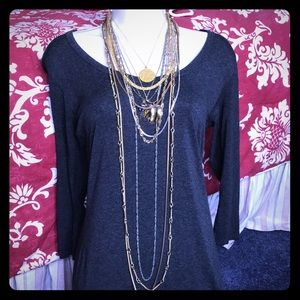 11 p dainty chunky gold short long chain lot